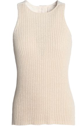 DION LEE Canvas-paneled ribbed cotton-blend top