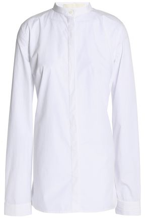 DION LEE Ruched cutout stretch cotton-poplin shirt