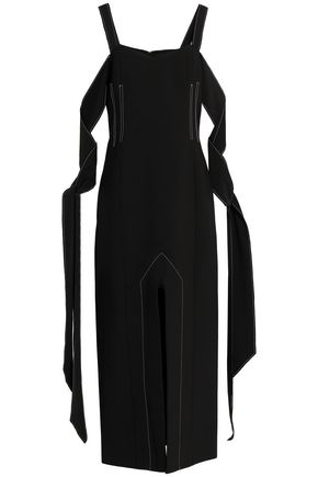 ELLERY Cold-shoulder draped crepe midi dress