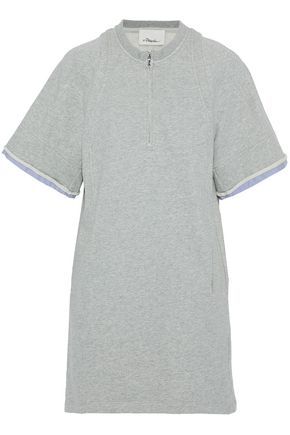 3.1 PHILLIP LIM Poplin-trimmed cotton-terry mini dress