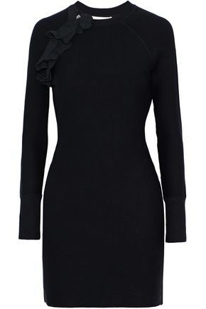 3.1 PHILLIP LIM Ruffle and zip-trimmed cotton-blend stretch-knit mini dress