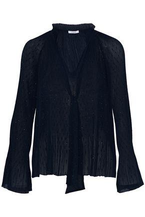 DEREK LAM 10 CROSBY Pussy-bow metallic plissé-chiffon blouse