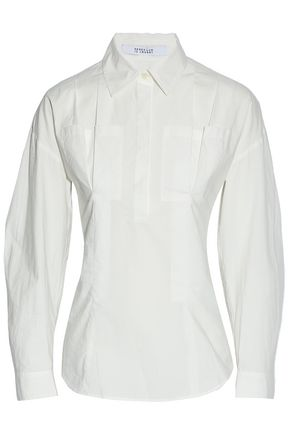 DEREK LAM 10 CROSBY Lace-up pleated cotton-poplin shirt