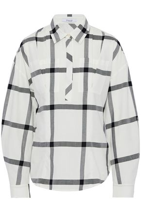 DEREK LAM 10 CROSBY Lace-up checked cotton-poplin shirt