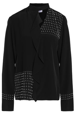DEREK LAM 10 CROSBY Embellished ruffled silk blouse