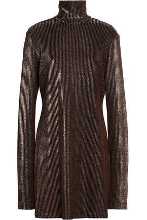 ELLERY Metallic ribbed-knit turtleneck mini dress