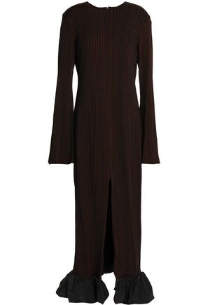 ELLERY Ruffle-trimmed ribbed-knit midi dress