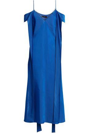 ELLERY Cold-shoulder draped faille midi dress