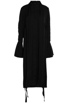ELLERY Bow-embellished draped silk-blend satin dress