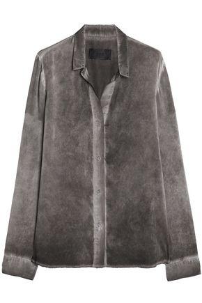 RTA Cold-shoulder ruched silk-satin bomber jacket