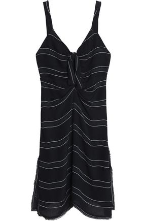 PROENZA SCHOULER Knotted fringe-trimmed striped crepe mini dress
