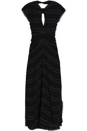 PROENZA SCHOULER Knotted fringe-trimmed striped crepe midi dress