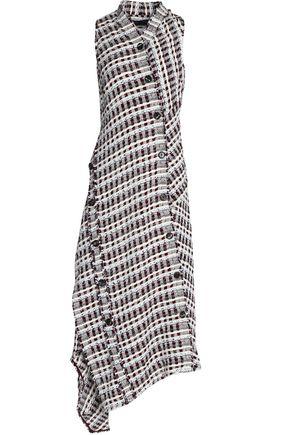 PROENZA SCHOULER Wrap-effect asymmetric cotton-blend tweed midi dress