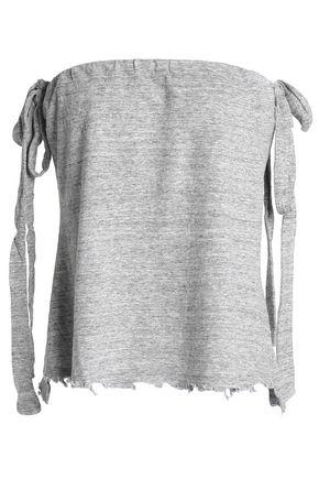 RTA Distressed mélange cotton-blend jersey top