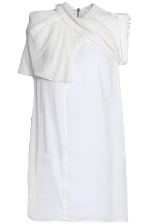 RICK OWENS Paneled stretch-jersey, satin and poplin mini dress