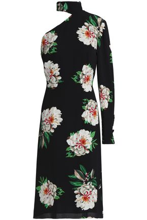 MIKAEL AGHAL One-shoulder floral-print crepe dress