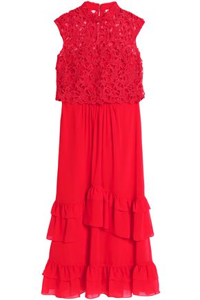 MIKAEL AGHAL Layered crochet and ruffled chiffon maxi dress