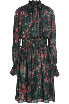 MIKAEL AGHAL Shirred printed silk-chiffon dress
