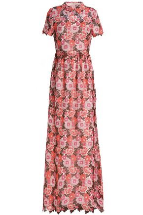 MIKAEL AGHAL Pleated guipure lace maxi dress
