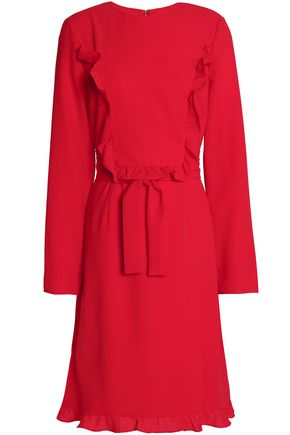 MIKAEL AGHAL Ruffle-trimmed crepe dress