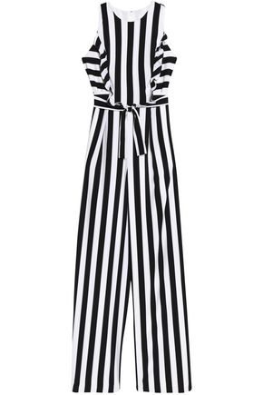 WOMAN RUFFLE-TRIMMED STRIPED CREPE JUMPSUIT WHITE