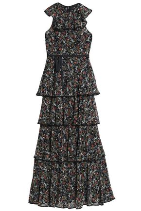 MIKAEL AGHAL Tiered floral-print crepe maxi dress