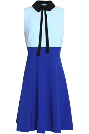 MIKAEL AGHAL Pussy-bow layered color-block crepe dress