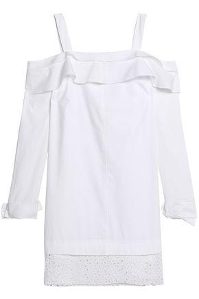 PROENZA SCHOULER Cold-shoulder lace-trimmed ruffled cotton-poplin mini dress
