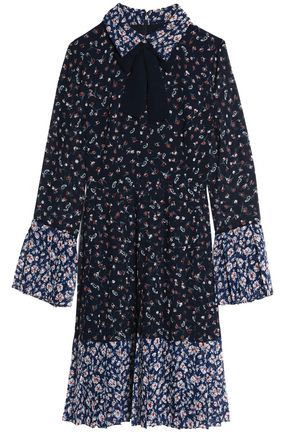MIKAEL AGHAL Pussy-bow floral-print crepe de chine dress