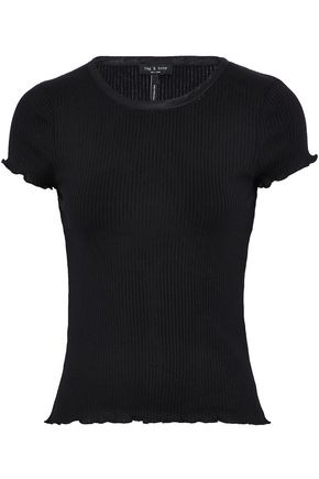 RAG & BONE Satin-trimmed ribbed-knit cotton top