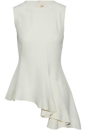 MARNI Asymmetric ruffled silk crepe de chine top