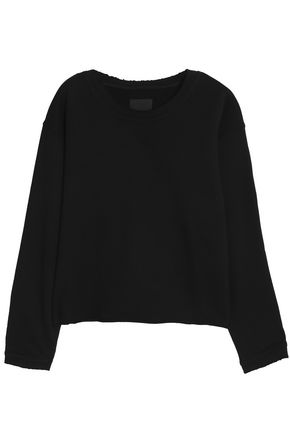 Frayed French Cotton Terry Sweatshirt by Rta