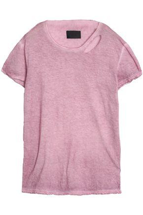 RTA Distressed cutout cotton and cashmere-blend jersey T-shirt