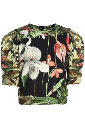 ADAM LIPPES Cropped floral-print cotton-jersey top