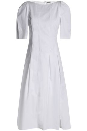 ADAM LIPPES Pleated cotton-poplin dress