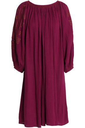 ANTIK BATIK Embroidered gathered cotton-crepe dress