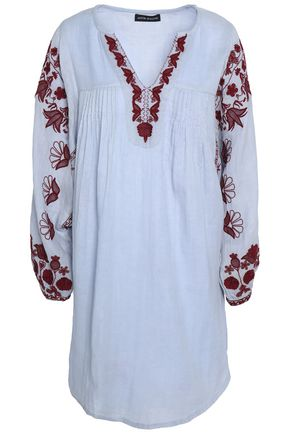 ANTIK BATIK Embroidered pintucked cotton-gauze mini dress