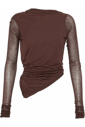RICK OWENS Open-back asymmetric ruched jersey top