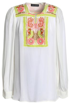 ANTIK BATIK Embellished embroidered gauze blouse