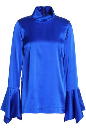 PAPER London Silk-satin turtleneck blouse