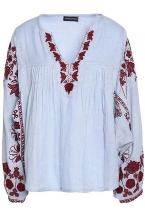 ANTIK BATIK Floral-embroidered gathered cotton blouse