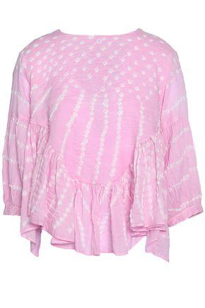 ANTIK BATIK Ruffled tie-dye woven cotton top