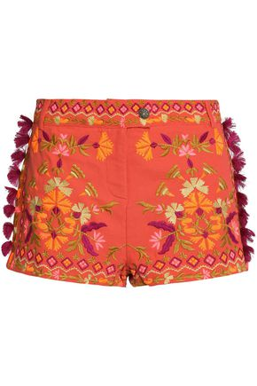 ANTIK BATIK Tasseled embroidered cotton-piqué shorts
