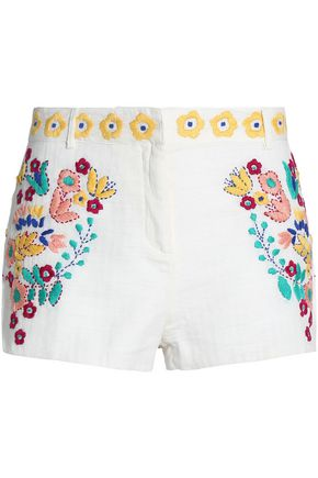 ANTIK BATIK Embroidered woven cotton shorts