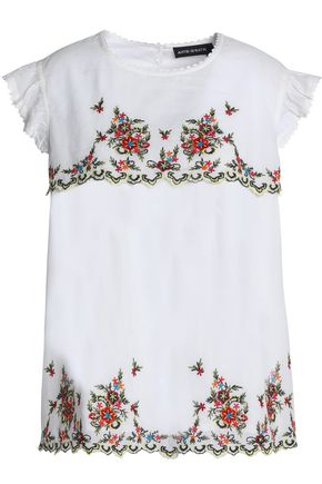 ANTIK BATIK Ruffle-trimmed embroidered cotton-poplin top