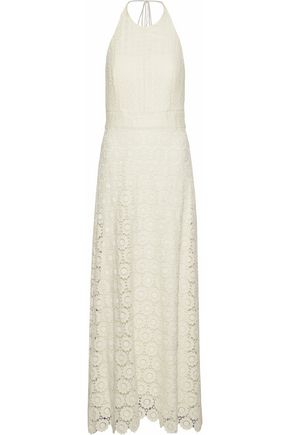 THEORY Crocheted cotton guipure lace halterneck maxi dress