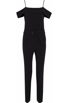 THEORY Cold-shoulder belted crepe jumpsuit