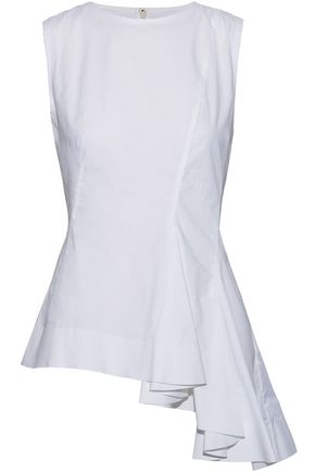 MARNI Asymmetric ruffled cotton-poplin top