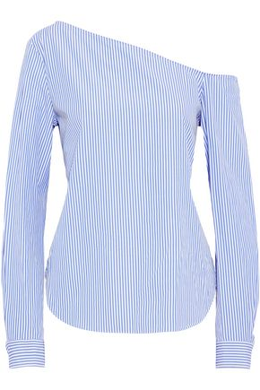 THEORY One-shoulder striped cotton-poplin top