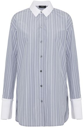 THEORY Poplin-trimmed striped twill shirt